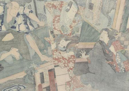 Threatening a Child, 1862 by Kunisada II (1823 - 1880)