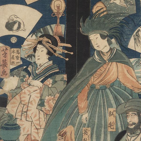The Five Nations: Merrymaking at the Gankiro Teahouse, 1860 by Yoshiiku (1833 - 1904)