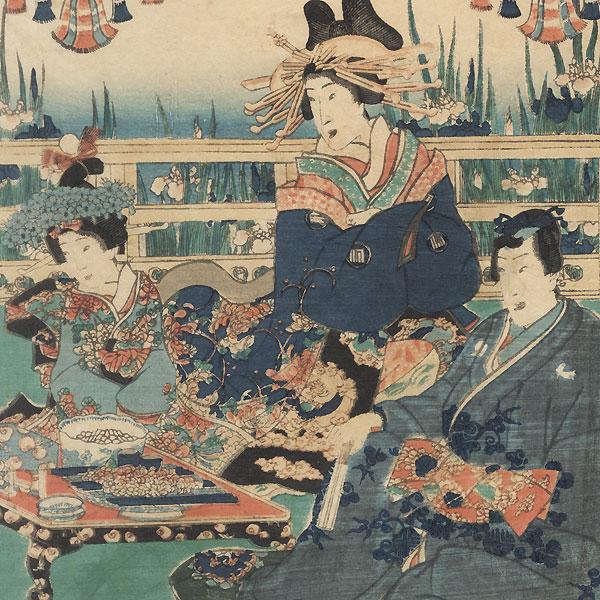 Mitsuuji Entertaining Guests on a Verandah, 1857 by Toyokuni III/Kunisada (1786 - 1864)