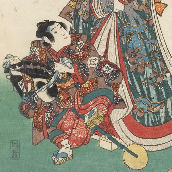 Boy Riding a Hobby Horse and Beauties, 1847 - 1852 by Toyokuni III/Kunisada (1786 - 1864)
