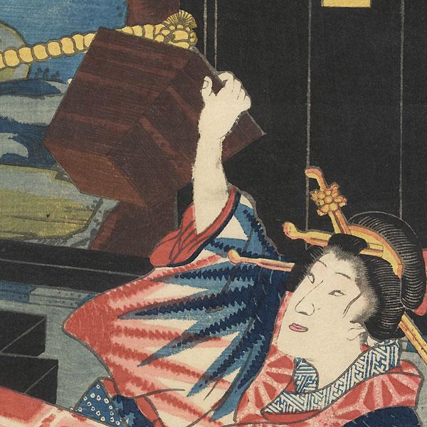 The Beauty Ofuji with a Well Bucket, 1856 by Toyokuni III/Kunisada (1786 - 1864)