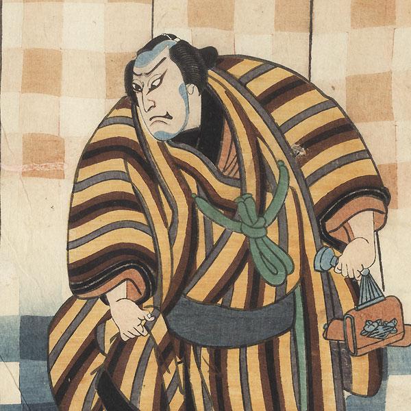 Street Knights with a Plaid Curtain Backdrop, 1862 by Yoshitaki (1841 - 1899)