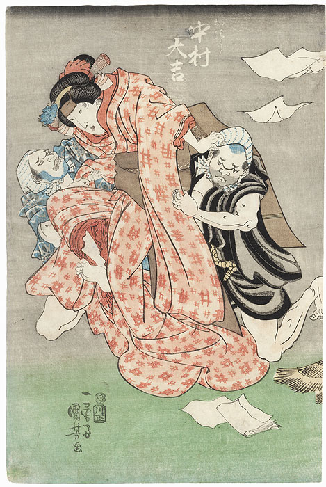 Beauty Struggling against Two Attackers by Kuniyoshi (1797 - 1861)