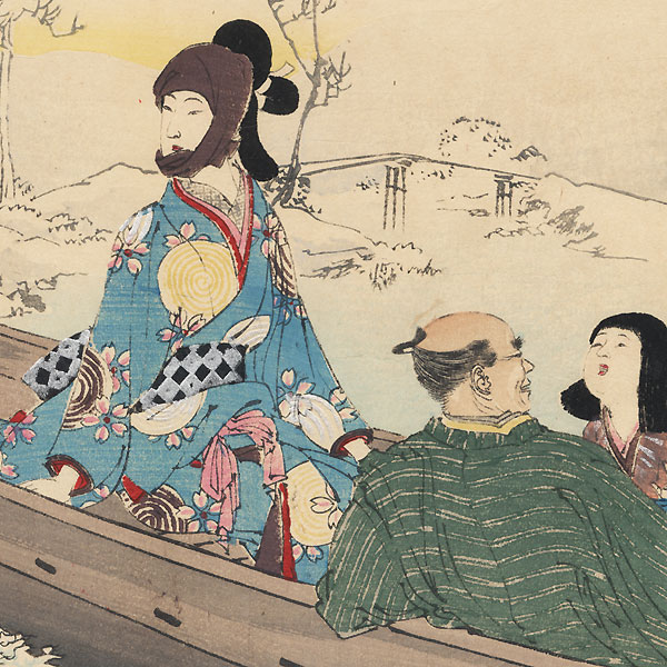 Snow Viewing: Woman of the Kanbun Era (1661-73) by Toshikata (1866 - 1908)