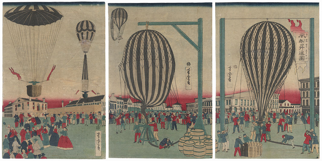 Scene of Balloon Ascensions, 1872 by Yoshitora (active circa 1840 - 1880)