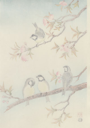 Birds in a Blossoming Cherry Tree by Shizuo Ashikaga (1917 - 1991)