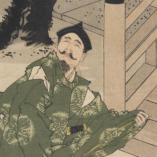 Yorimasa Watches the Monster Approach by Yoshitoshi (1839 - 1892)