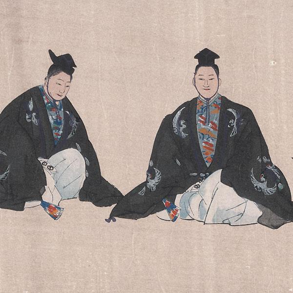 Kosode Soga (Soga's Robes) by Tsukioka Kogyo (1869 - 1927)