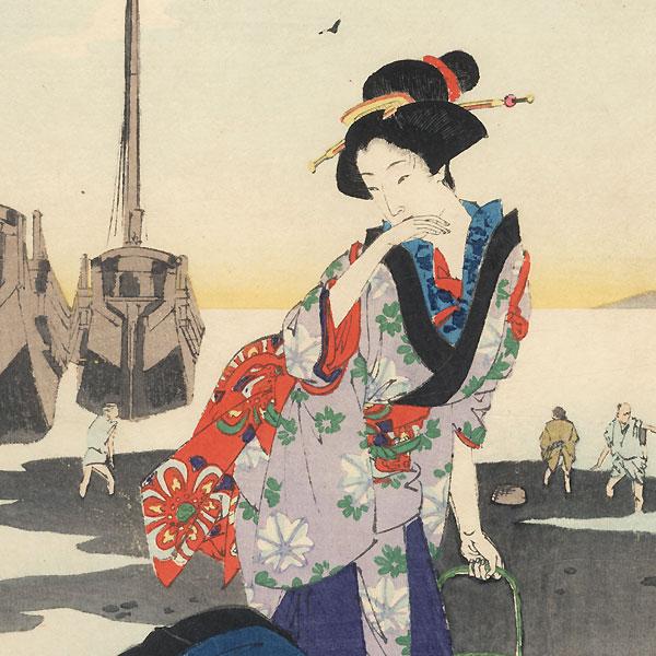 Low Tide: Women of the Bunka Era (1804 - 1818) by Toshikata (1866 - 1908)