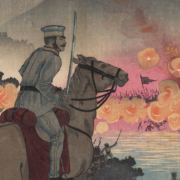 Advancing across the Ansong River at the Battle of Asan, 1894 by Kiyochika (1847 - 1915)
