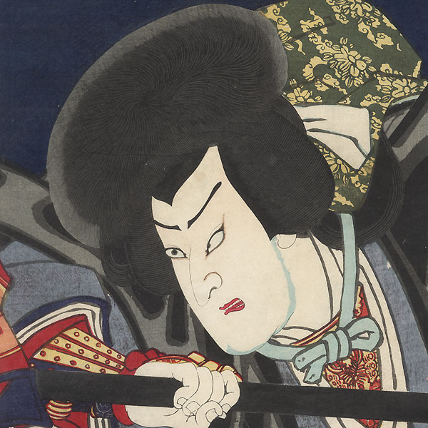 Priest Kakuhan Wielding a Naginata by Kunichika (1835 - 1900)