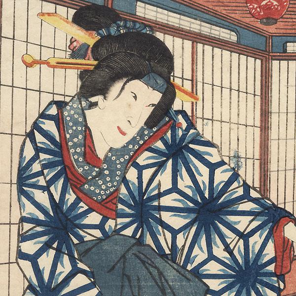 Sawamura Tanosuke as Aburaya Okon, 1863 by Kunisada II (1823 - 1880)