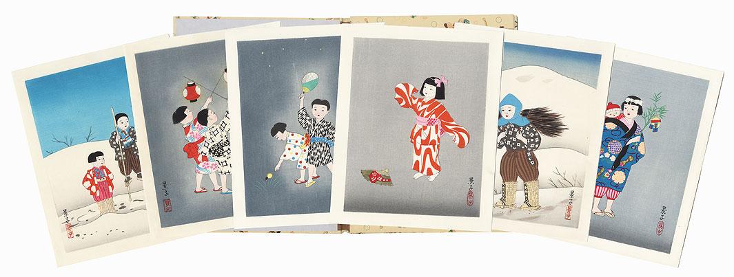 The Life of Japanese Children Print Set by Yurimoto Keiko (1906 - 2000)