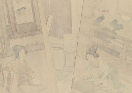 Beauties Playing Music on a Moonlit Night, 1895 by Meiji era artist (not read)