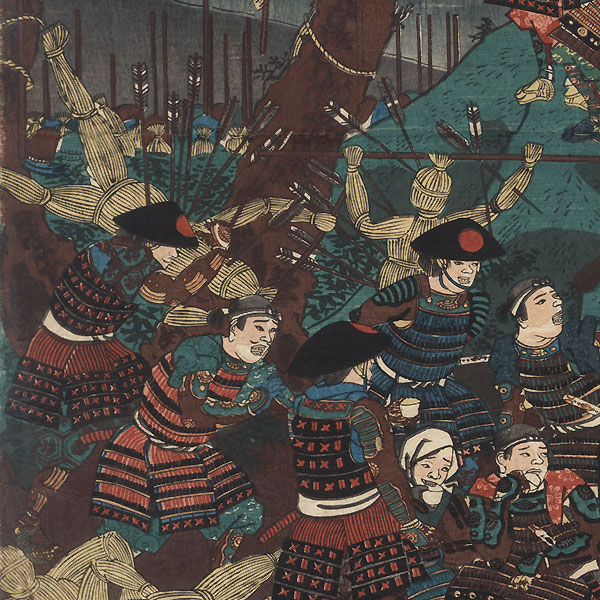 Kusunoki Masashige and His Men Making Straw Dummies to Trick the Enemy into Exhausting Their Arrows, 1857 by Kuniyoshi (1797 - 1861)