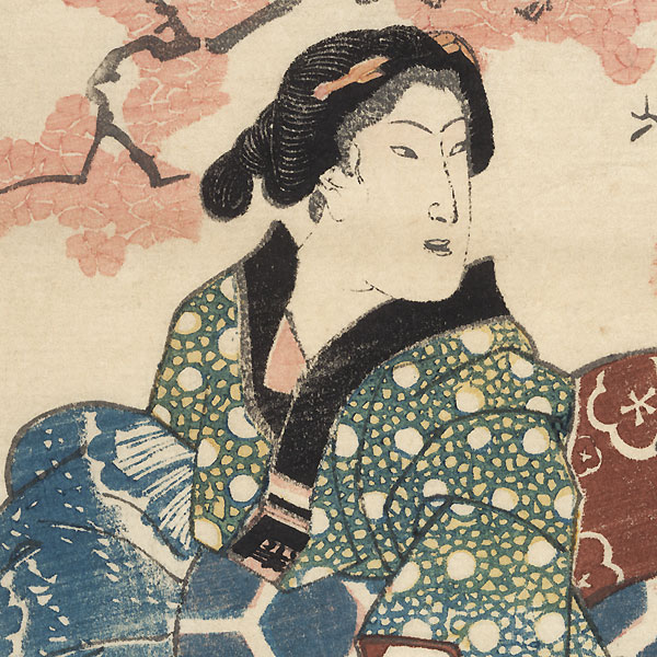 Beauty beneath a Blossoming Cherry Tree by Yoshifusa (active circa 1837 - 1860)