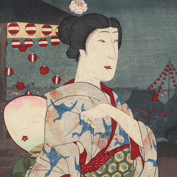 Beauty and Fireworks Display by Meiji era artist (not read)
