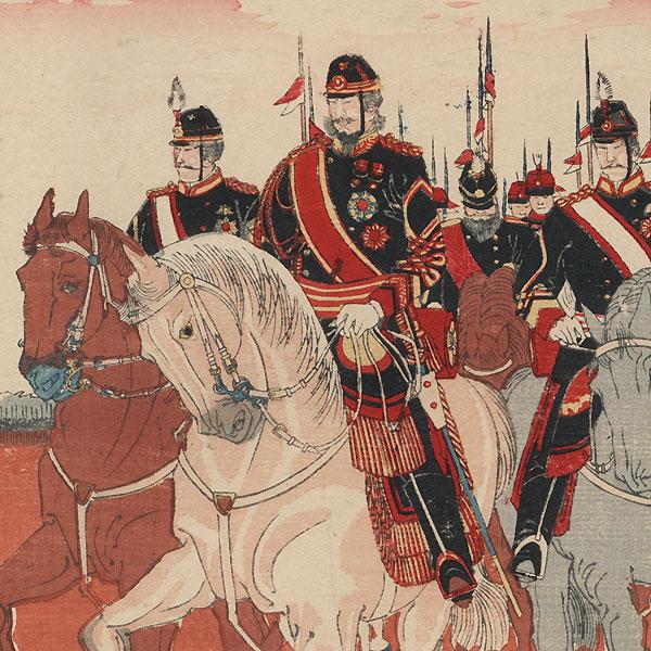 Meiji Emperor Reviewing Troops at Aoyama, 1889 by Yasuji Inoue (1864 - 1889)