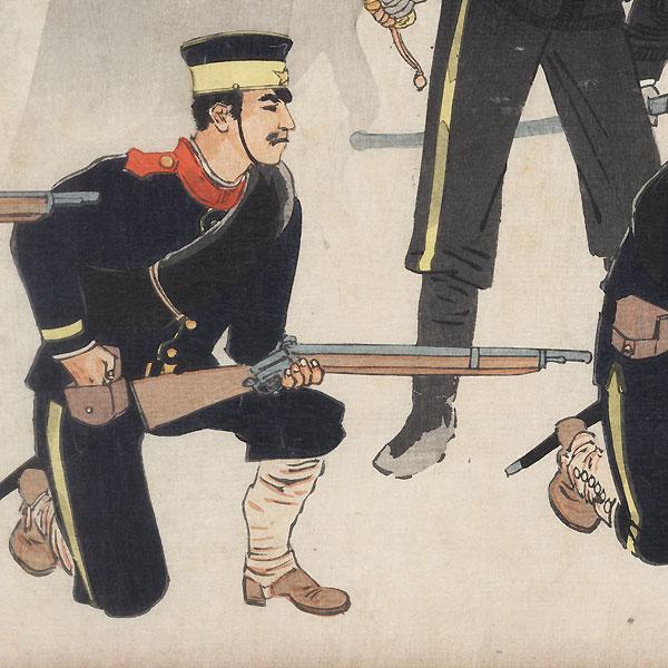 Battle at Kinshujo on the way to Ryojun, 1894 by Kiyochika (1847 - 1915)