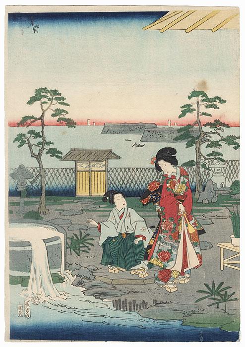 Beauty and Boy in a Garden, 1864 by Edo era artist (unsigned)