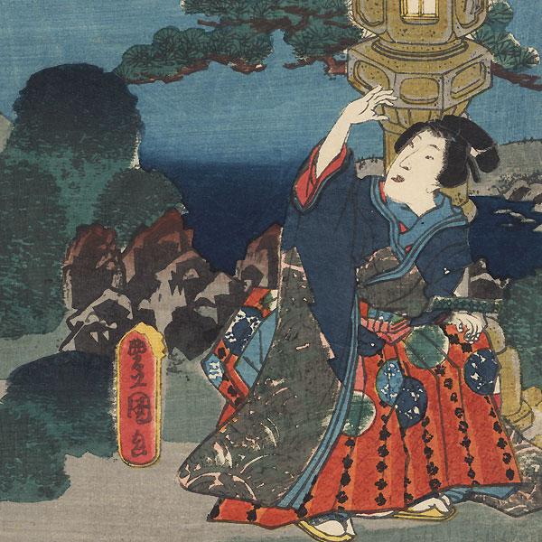 Cherry Blossoms at Genji's Rokujo Mansion, 1854 by Toyokuni III/Kunisada (1786 - 1864)