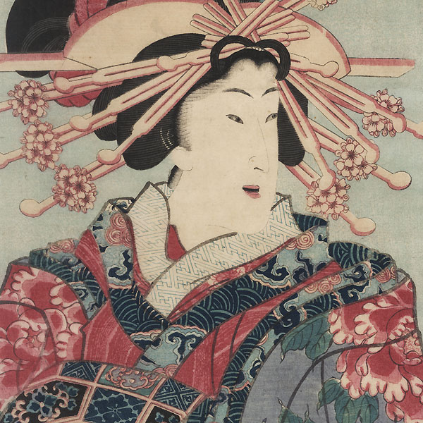Courtesan with a Peony Kimono by Kunisada II (1823 - 1880)