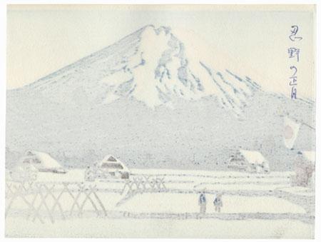 Mt. Fuji across Fields in Winter by Shin-hanga & Modern artist (unsigned)