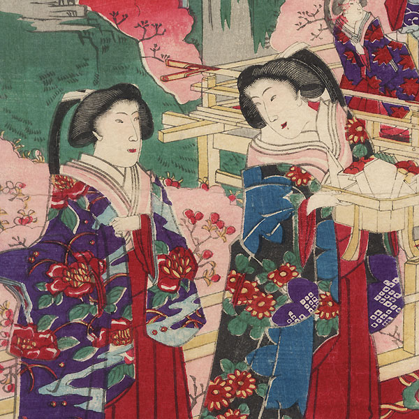 Cherry Blossom Viewing by Chikanobu (1838 - 1912)