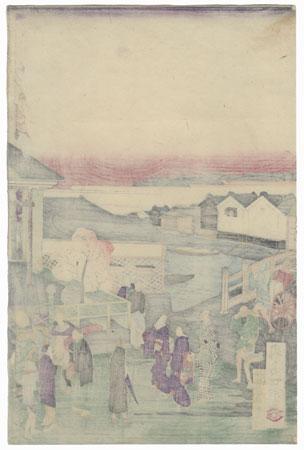 City Street Scene by Ikkei (active circa 1870s)