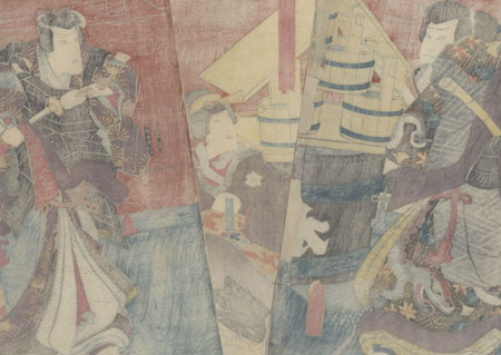 Beauty and Komuso, 1852 by Toyokuni III/Kunisada (1786 - 1864)