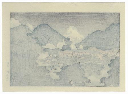 Kankai-ji Temple in Beppu, circa 1927 by Hasui (1883 - 1957)