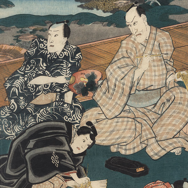 Actors Offstage Painting and Writing Poems, 1852 by Toyokuni III/Kunisada (1786 - 1864)