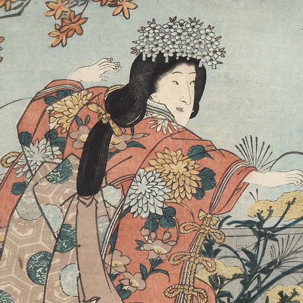 Dancing beneath a Maple Tree, 1852 by Toyokuni III/Kunisada (1786 - 1864)