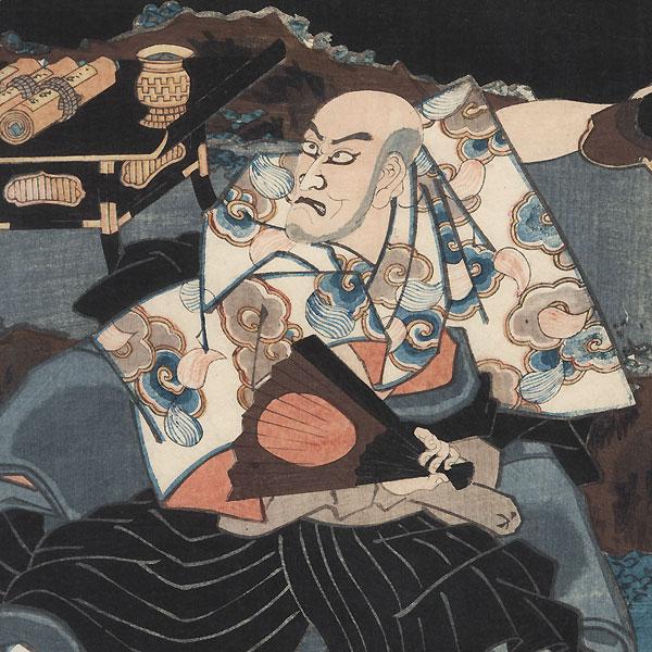 Tamaori Threatening Kumagai with a Sword, 1852 by Toyokuni III/Kunisada (1786 - 1864)
