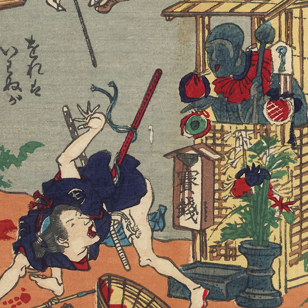 Even Jizo Will Be Angry If You Touch His Face Three Times by Kyosai (1831 - 1889)