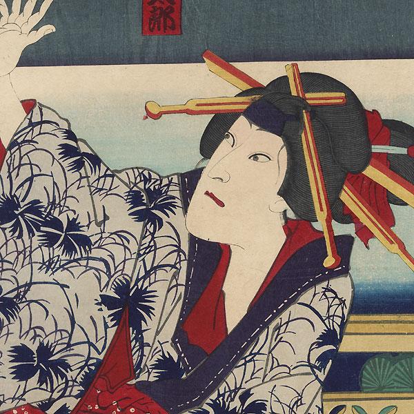 Commoner Attacking a Beauty, 1874 by Kunichika (1835 - 1900)