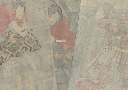 Swordfight on the Steps, 1865 by Kunisada II (1823 - 1880)
