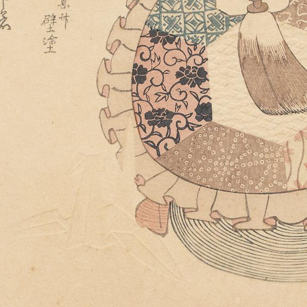 Turtle-shaped Purse and Origami Crane Surimono by Shinsai (circa 1764 - 1823)