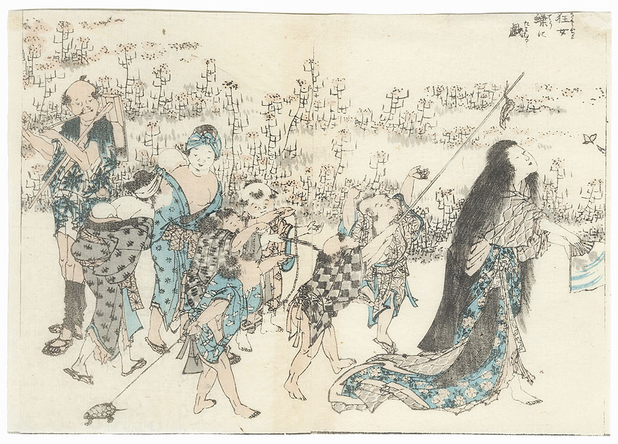 Children Taunting a Madwoman by Hokusai (1760 - 1849)