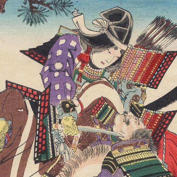 Tomoe gozen Battling Uchida Ieyoshi while Wada Yoshimori Tries to Intervene by Chikanobu (1838 - 1912)