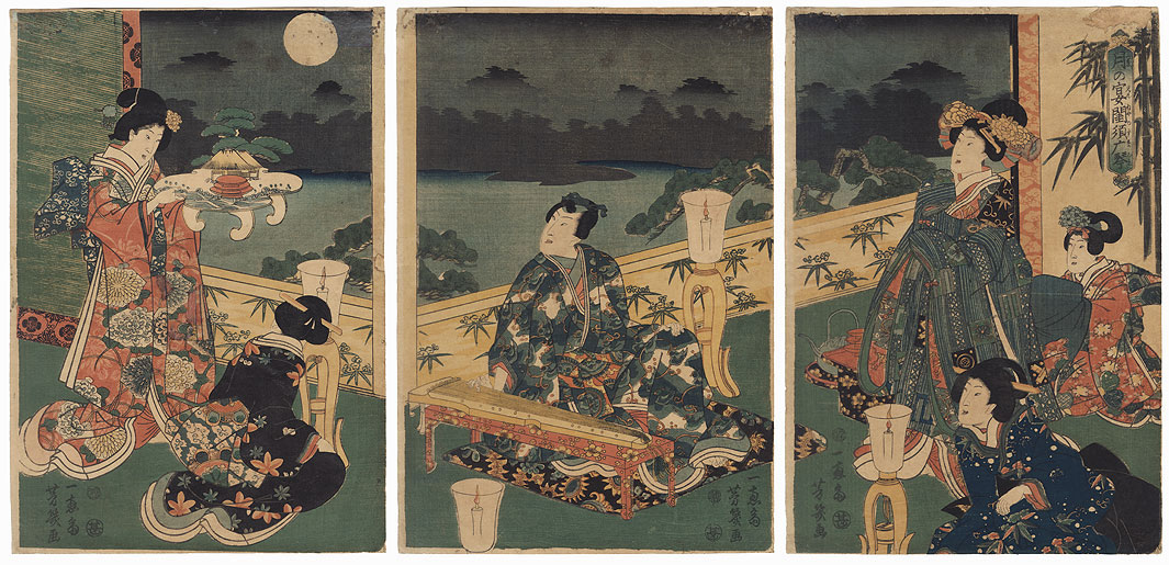 A Moon-viewing Party with the Suma Koto in the Bedroom, 1861 by Yoshiiku (1833 - 1904)