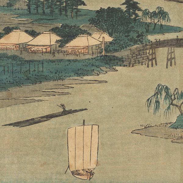 Kawasaki: Namamugi Village beside the Tsurumi River, 1855 by Hiroshige (1797 - 1858)