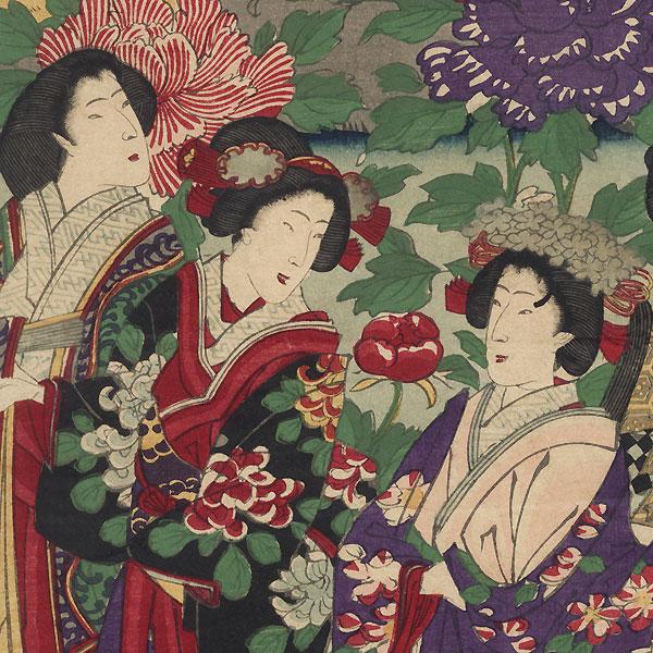 Visiting a Peony Garden, 1883 by Chikanobu (1838 - 1912)