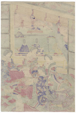 Beauties Writing Poem Slips, 1877 by Meiji era artist (unsigned)