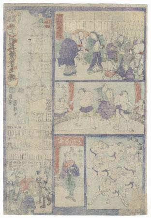 Grand Sumo Temple Solicitation, 1866 by Kuniteru II (1829 - 1874)