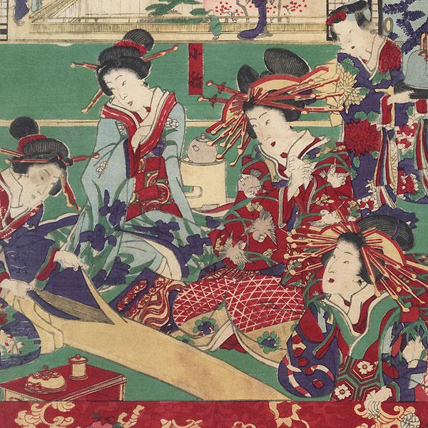 The Inamoto-ro House at Shin-Yoshiwara, 1870 by Yoshitora (active circa 1840 - 1880)