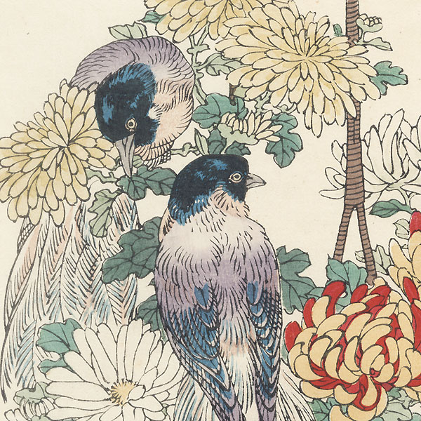 Exotic Birds and Chrysanthemums by Kono Bairei (1844 - 1895)