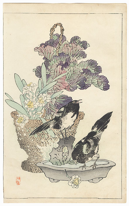 Magpies and Kale by Kono Bairei (1844 - 1895)