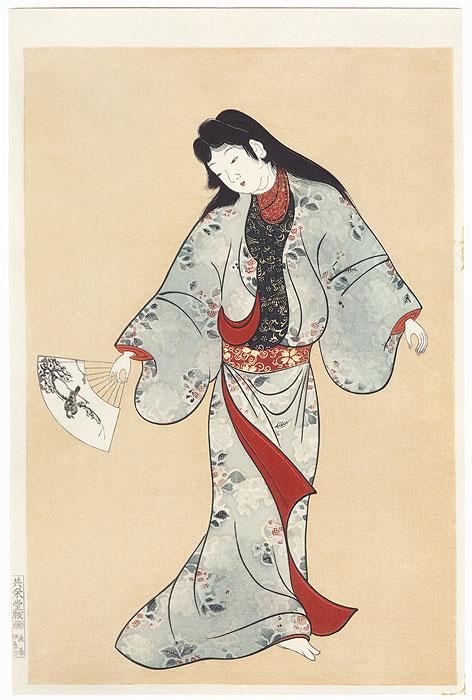 Dancing Beauty with a Fan by Edo era artist (unsigned)