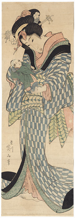 Beauty Holding a Doll Kakemono by Eizan (1787 - 1867)